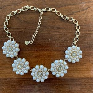 Stunning Talbots Faux pearl and cz necklace